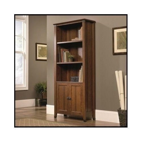 3-Shelf-Bookcase-Wood-Doors-Furniture-Adjustable-Tall-Bookshelf-Cabinet-Office
