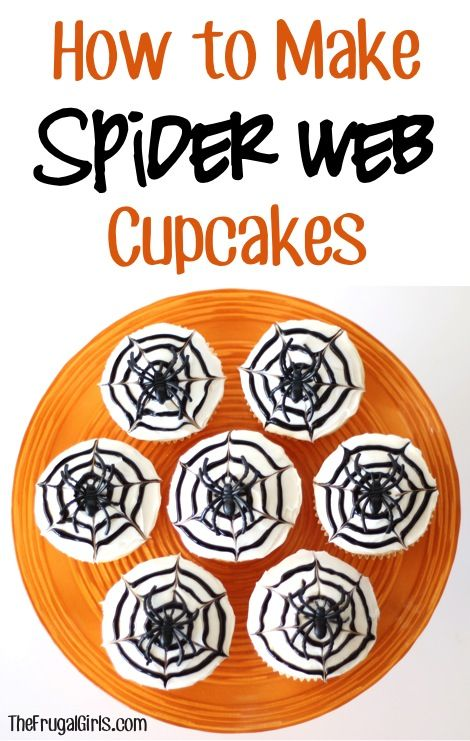 How to Make Spider Web Cupcakes! ~ from TheFrugalGirls.com #spiders