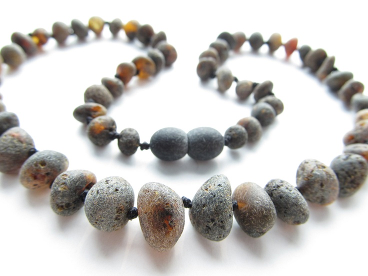 Raw Unpolished Black Baltic Amber Necklace. For Adults. $23.00, via Etsy.