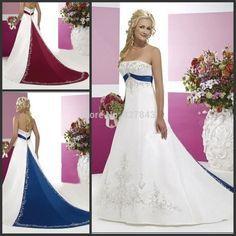 Robe de mariee bleu clair et blanc