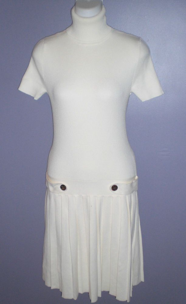 Victorias Secret Moda Internat. Drop-waist Cotton Rib Dress with Pleats~M~Chic #VictoriasSecret #Sheath
