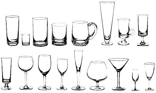 Tipos de vasos, copas y jarras
