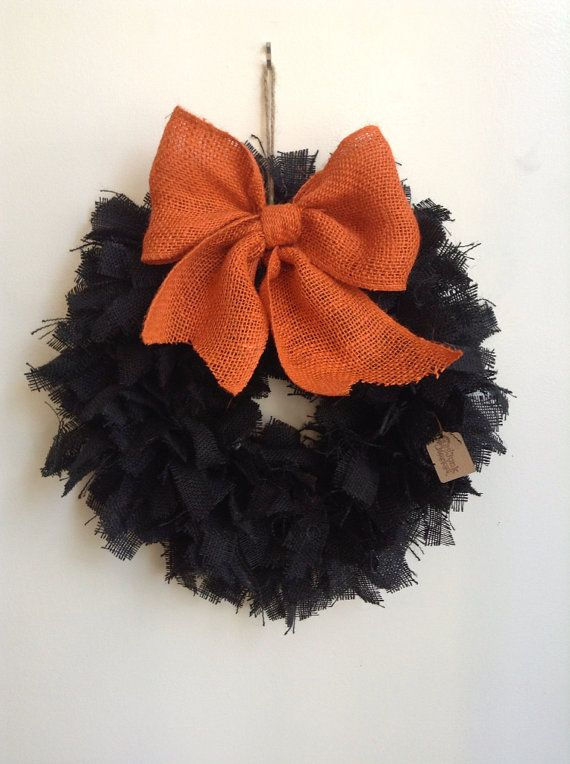 Burlap Halloween Wreath, Black Wreath on Etsy, $45.00