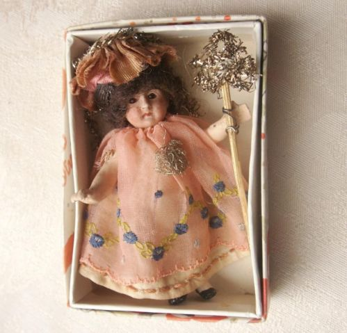 Old Antique Bisque Head French German Christmas Fairy Doll Boxed Xmas house size