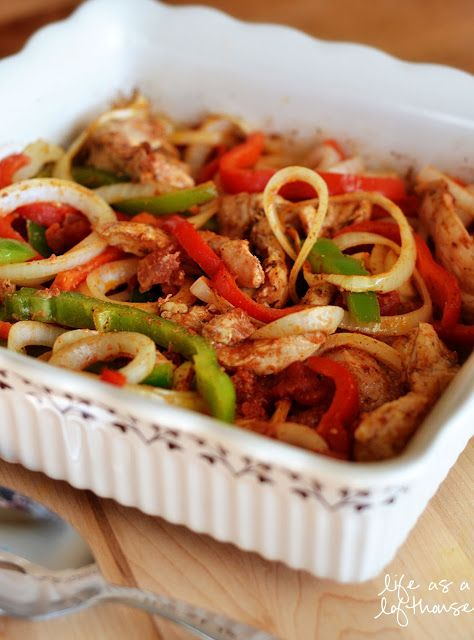 Oven Baked Chicken Fajitas Recipe ~ Says: There's not much work to them. Just some slicing of veggies and chicken and then pop it in the oven and let it do the cooking for you... These Fajitas were so delicious!  I loved the flavors of the spices, and the chicken and vegetables were cooked perfectly!