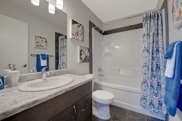 Bright grey and white main bathroom with bright accent colors. Including tile floors, stainted maple counter tops and laminate flooring.