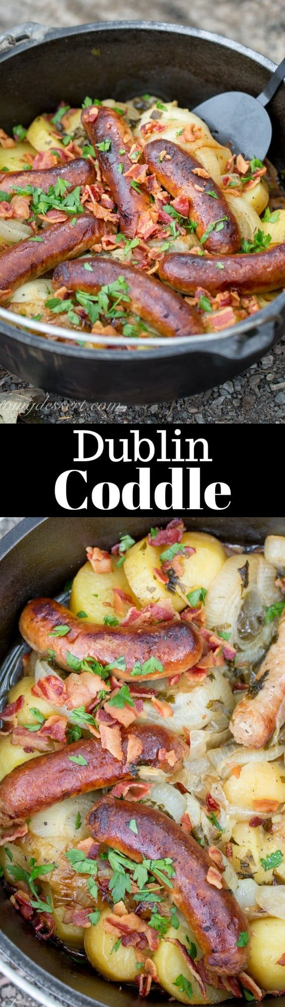Dublin Coddle - a traditional Irish dish made with potatoes, sausage, and bacon then slow cooked in a delicious stew. Perfect Camping Food in a Lodge Camp Dutch Oven | www.savingdessert.com