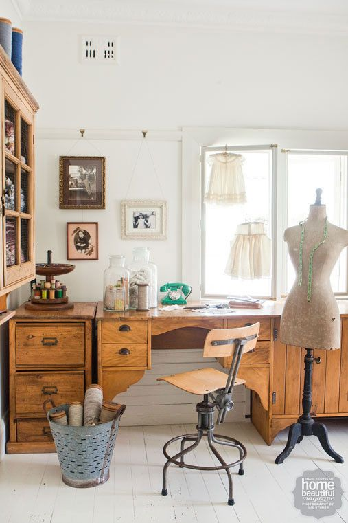 French Accent: Beautiful buttons, vintage fabrics, old family photos and antiques are all on display in the sewing room.