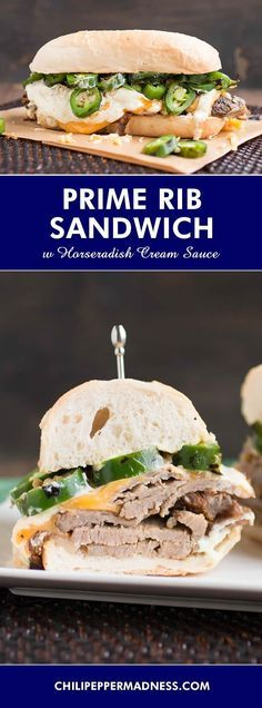 Prime Rib Sandwich with Horseradish Cream Sauce - Turn your leftover prime rib roast into a sandwich with this recipe, serving thinly sliced prime rib on toasted Italian rolls, topped with melted cheese and a zesty horseradish cream sauce that whips together easily.
