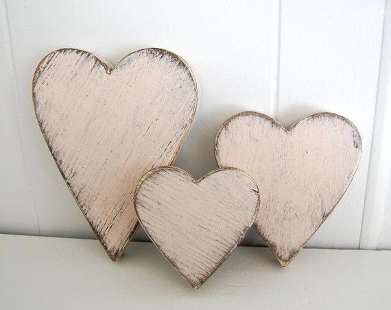 wooden hearts shabby chic pink on Etsy.com