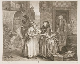 A Harlot's progress by William Hogarth - 6 engraving and story of a prostitute on them