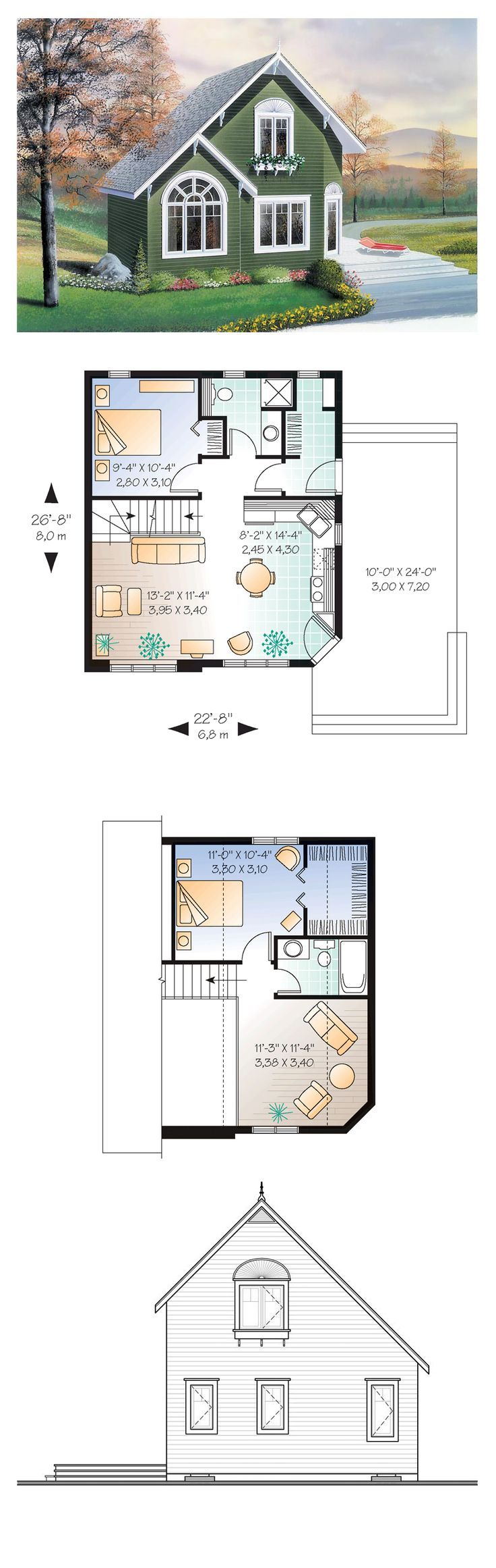Narrow Lot House Plan 76168   Total Living Area: 991 sq. ft., 2 bedrooms and 2 bathrooms. A bedroom is located on the main level, and a cathedral ceiling over the living room expands the interior space.  #houseplan #narrowlothome