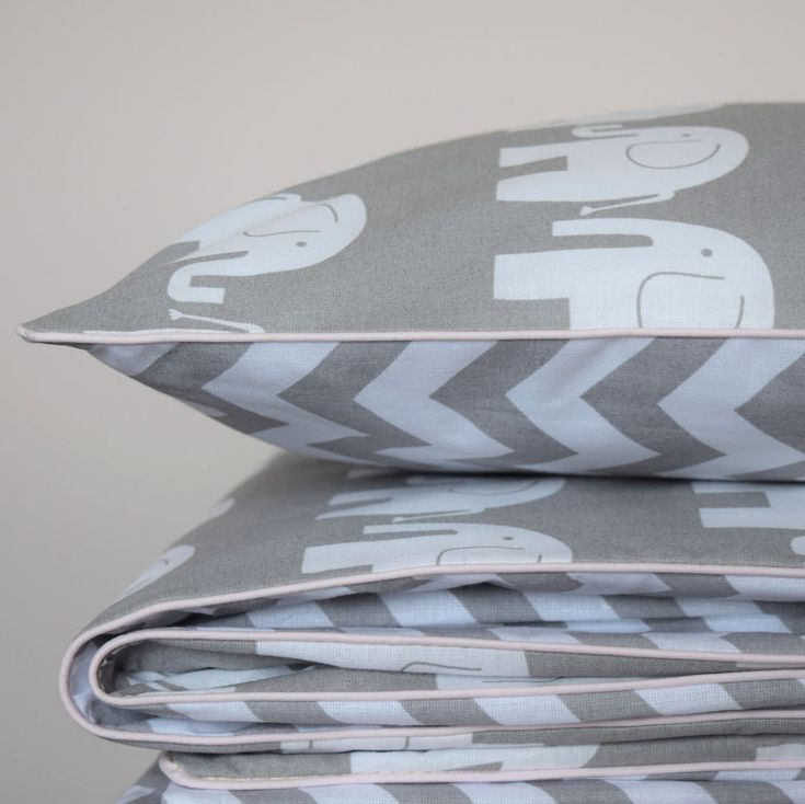100%COTTON Cot Bed Duvet Cover Set Girls  Grey Chevron ZigZag Elephants