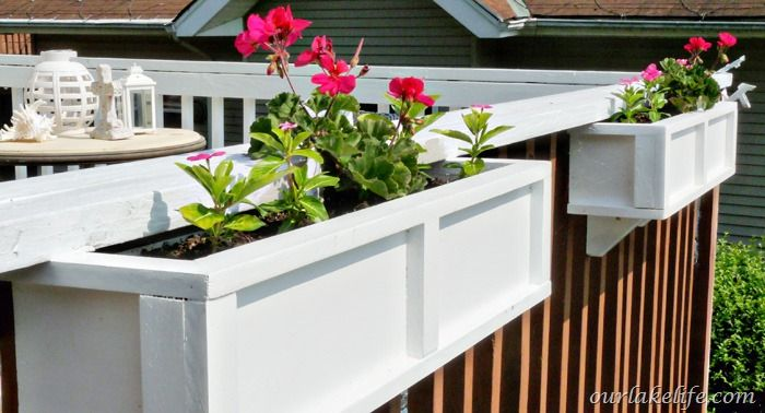 We built our own custom wood planter boxes in a day for a fraction of the cost of pre-made planter boxes. Complete project details can be found here  http://www…