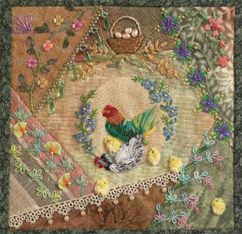 Showing off what you can do with crazy quilt blocks, this example features many hallmarks of crazy quilting.