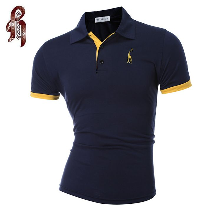 HEYKESON Mens Polo Shirt Brands 2017 Male Short Sleeve Fashion Casual Slim Deer Embroidery Printing Polos 3XL