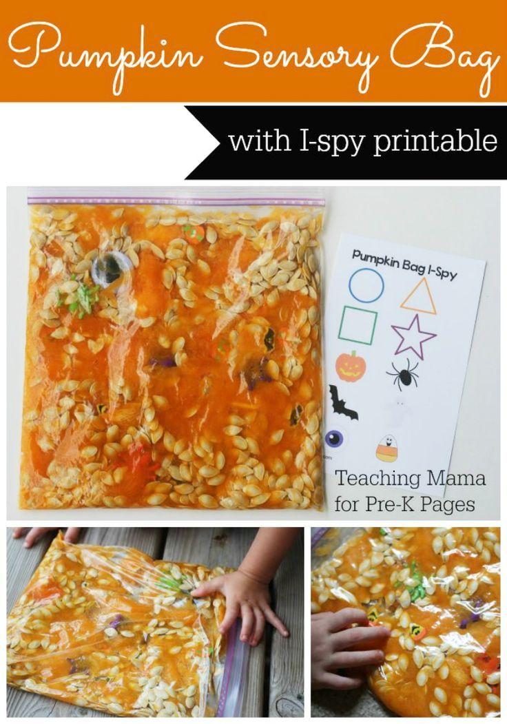 Pumpkin Sensory Bag For Preschool Or Kindergarten Plus Free Printable I Spy Sheet