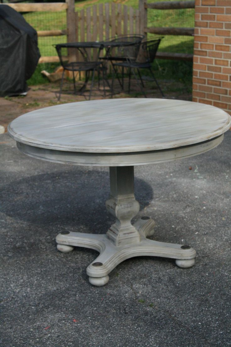 Primitive & Proper: Weathered Paris Gray Dining Table using Briwax