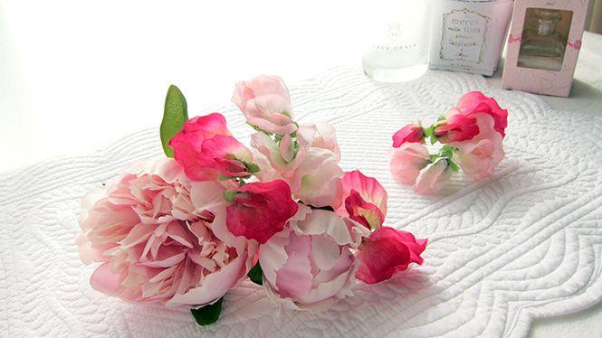 しゃくやくとスイートピーのヘッドドレス http://www.fleuriste-glycine.jp/