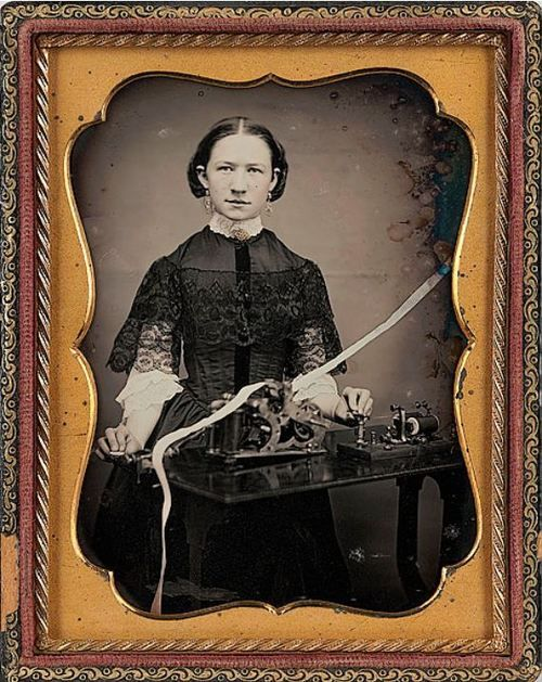 "ca. 1850's, [daguerreotype occupational portrait of a telegraph operator]. ""When Samuel Morse used an electrical telegraph to send the message ""What Hath God Wrought"" in May, 1844 from Washington, D.C. to Baltimore, Maryland, he transformed communication in the United States. By the end of the Civil War, the telegraph had become the means by which information was transmitted long, as well as short distances."". via Cowan's Auctions"