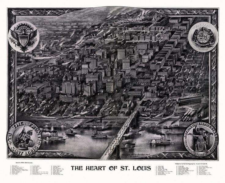 Old Map of St. Louis Missouri 1907 St. Louis County Poster
