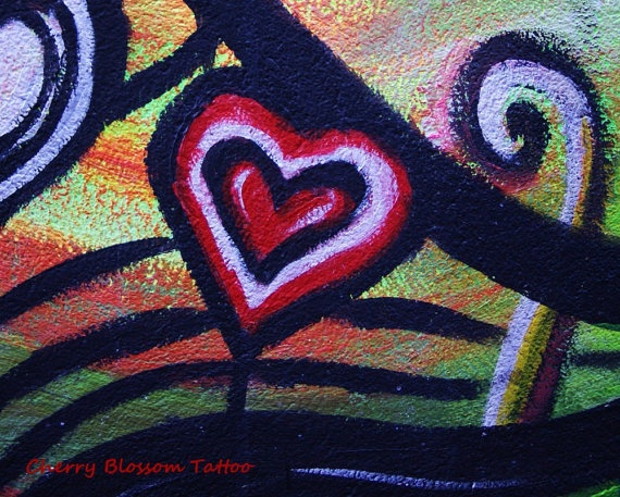 Colourful street art Belfast red heart red by cherryblossomtattoo, £12.00