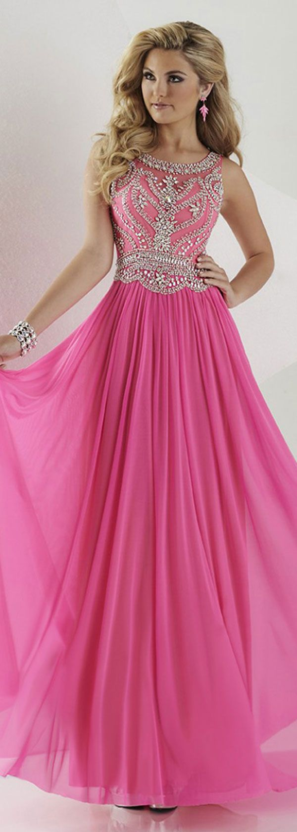 Fashionable Chiffon Scoop Neckline A-Line Prom Dresses With Beads & Rhinestones