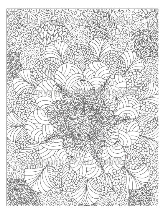 Pen illustration printable coloring page zentangle by memearts Zentangle