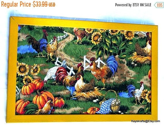 July 4th Sale Chickens and Roosters in the Pumpkin Patch Ochre