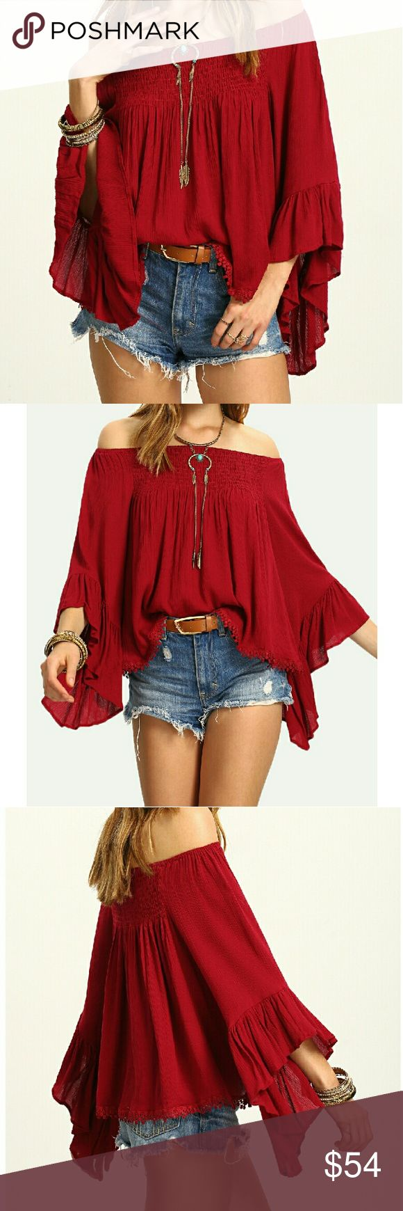 "Comfy Off The Shoulders Boho TOP   Fits Sizes 2-10 Beautiful burgundy?off the shoulder top. Comfy oversized design with an elastic band at the bust for an easy, effortless fit. Big, beautiful bell sleeves. Lightweight, made of a comfortable cotton blend.  One Size Fits Most  18.5"" Long with 15.7"" sleeves Small, medium and large all have same measurements. Perfect fit for sizes 2-10  FREE GIFT WITH PURCHASE. Please allow 7 days for processing. Boutique Tops Blouses"