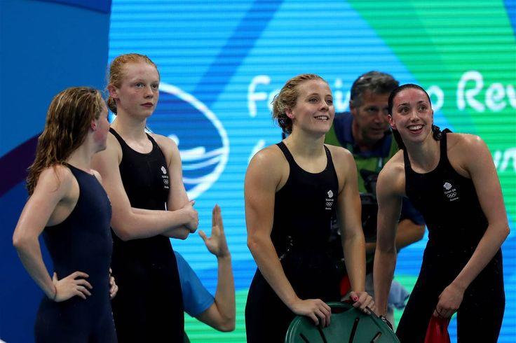 Hattersley, Camilla, O'Connor, Siobhan-Marie, Miley, Hannah, Coates, Georgia - Swimming - Great Britain - Women's 4 x 200m Freestyle Relay - Women's 4x200m Freestyle Relay - Heat 2 - OAS - Olympic Aquatics Stadium