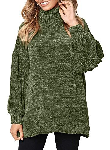 8cbeeedef Doballa Womem s Soft Chenille Loose Knitted High Low Hem Pullover Sweater  Turtleneck Jumper Top Olive