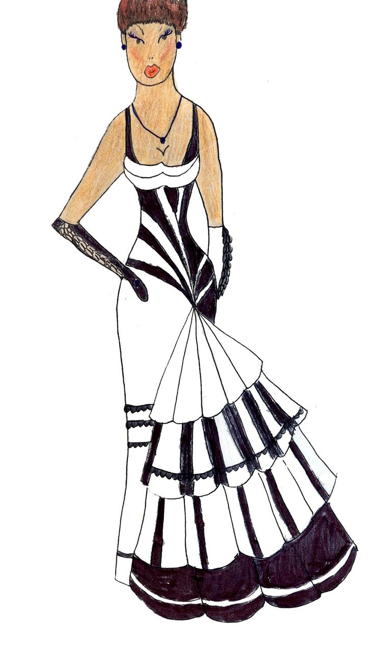 Черное и белое. Клавиши пианино - Black and white. Piano keys (My sketch)  #fashion #Style #мода #design #designer #дизайнер #стиль