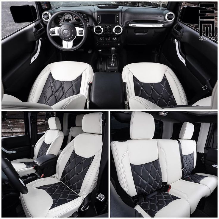 Interior photos of the Jeep Wrangler featuring custom two-tone white and black leather seating with diamond stitching, and painted white trim with black accents. @malkikawa #ExclusiveMotoring