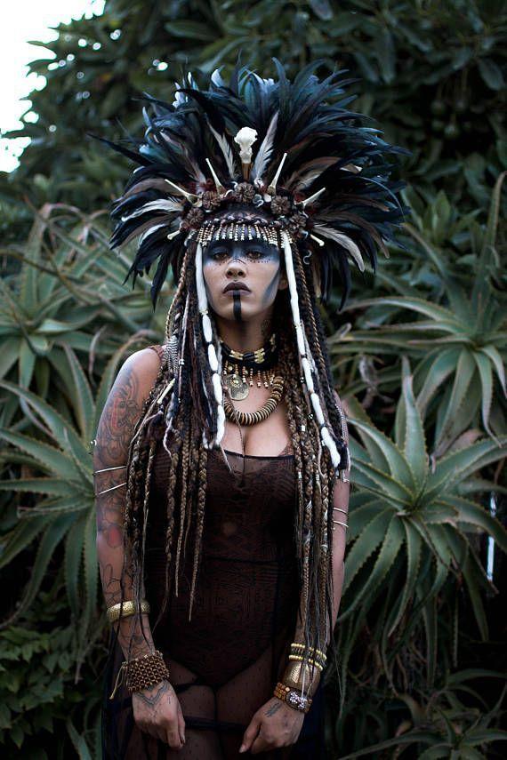 This Large Feather Bone Voodoo Priestess Headdress Is Full