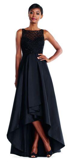 00e90d9cbd High Low Taffeta Gown with Diamond Beaded Bodice