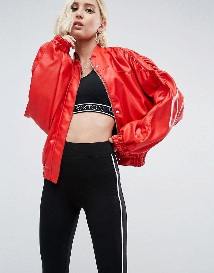 Buy it now. ASOS 80s Statement Leather Look Jacket - Red. Jacket by ASOS Collection, Smooth faux-leather fabric, Baseball collar, Zip fastening with press-stud placket, Ruched sleeve design, Side pockets, Elasticated cuffs and hem, Relaxed fit, Machine wash, 100% Polyester, Our model wears a UK 8/EU 36/US 4 and is 175cm/5'9 tall. Score a wardrobe win no matter the dress code with our ASOS Collection own-label collection. From polished prom to the after party, our London-based design team…
