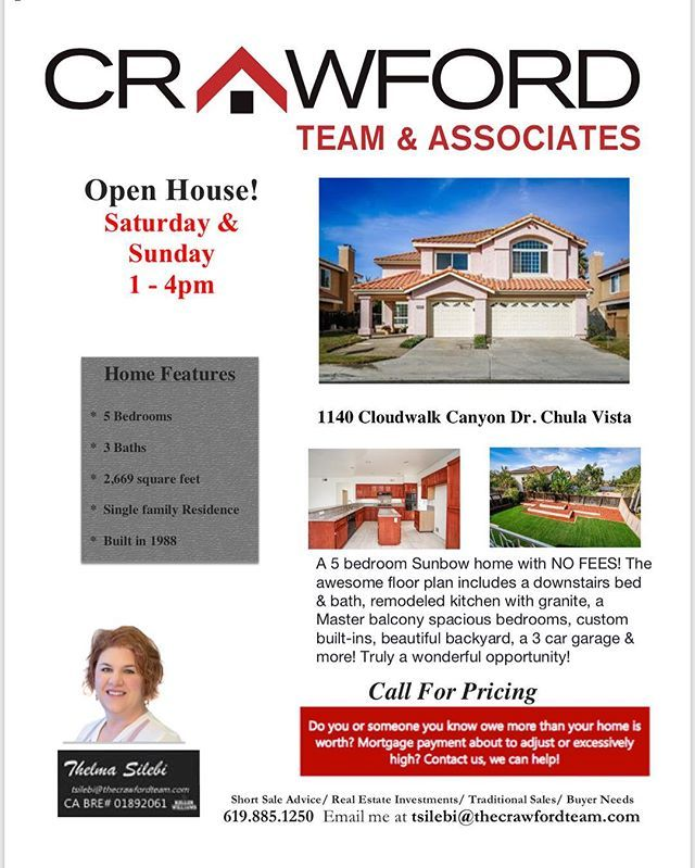 Open House event this weekend with @thebestnotary! A wonderful Sunbow home with NO FEES! Awesome floor plan w/ downstairs bed & bath, remodeled kitchen, spacious bedrooms, a 3 car garage & more! Call TODAY! 800-841-4682 BRE#01823241 #crawfordteamsells #sandiegorealestate #realestate #listingagent #buyersagent #notarypublic #realestateteam #househunting #househunters #homebuyers #sandiego #chulavista #chulavistarealestate #sunbow #southbayrealestate #sandiegohomes #realtor #sandiegoliving…