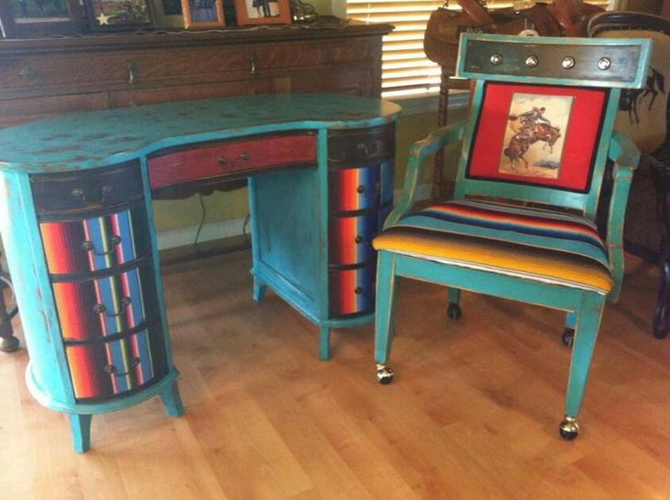 Antique desk and matching office chair. Like my page on Facebook Kathy Woolley Originals for more fun pieces!