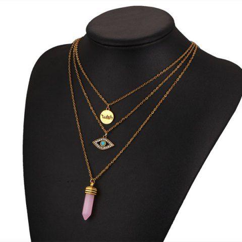 Devil Eye Natural Stone Wish Necklace - GOLDEN