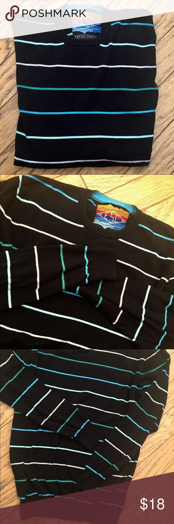 Zumiez Men's Black Crewneck Pullover Sweater EMPYRE SUPPLY CO. - ESC Zumiez Brand. Men's black crew neck pullover sweater with white, blue, and green stripes. Excellent condition. Warm, soft and comfortable. No flaws. Men's regular size large. I discount all bundles of 2 or more by at least 20%! Zumiez Sweaters Crewneck