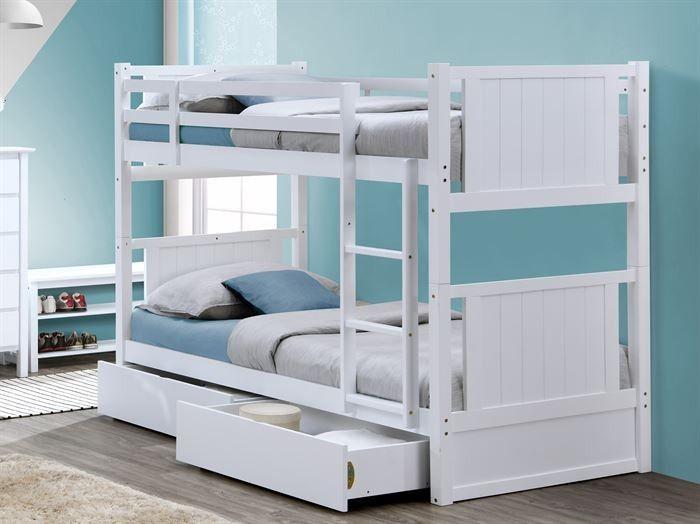 Myer White Single Bunk Bed With Storage Drawers Hardwood Frame