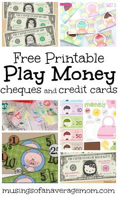 Collection of free printable play money, cheques and credit cards for pretend play