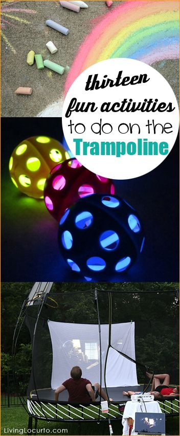 13 Fun Activities to do on the Trampoline. Outdoor activities for kids and families.  Party games on the trampoline.