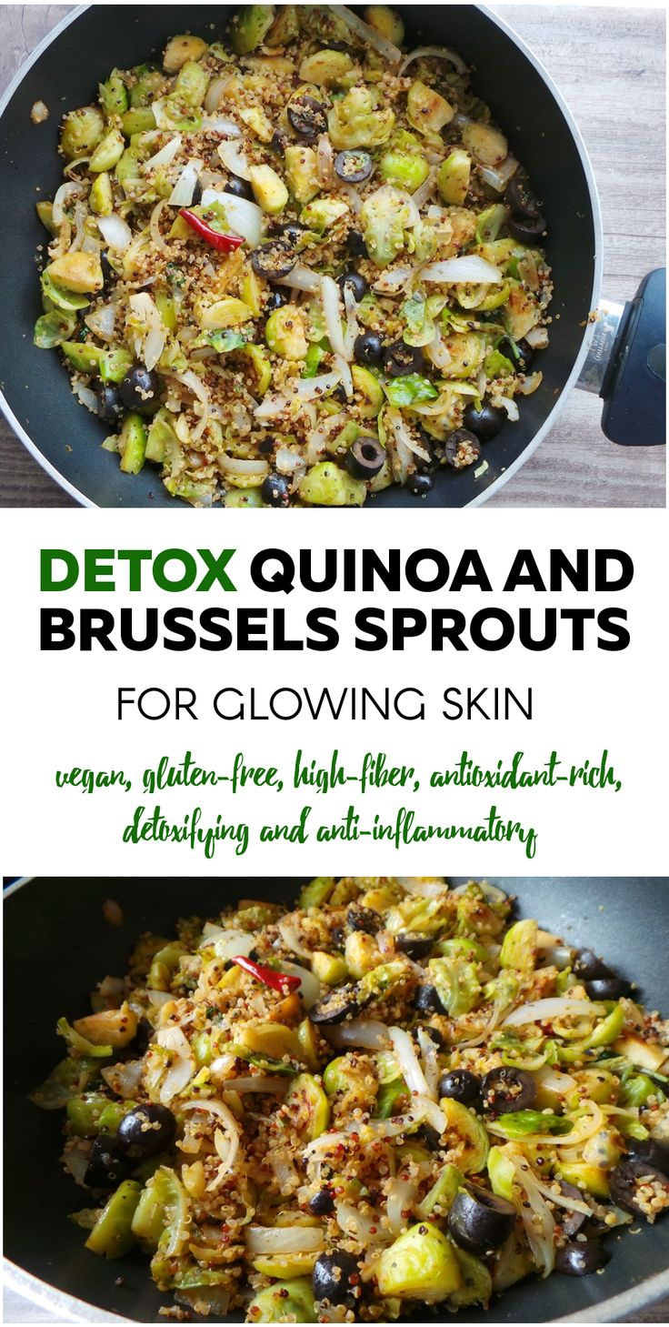 Name something you'd never eat! Yes, quinoa with Brussel's sprouts. And yet, here we are. And these taste awesome. This little Beauty Bites stir fry is vegan, gluten-free, perfect for detox and good for skin health - it can boost collagen production and get rid of excess inflammation, that causes redness in the skin.