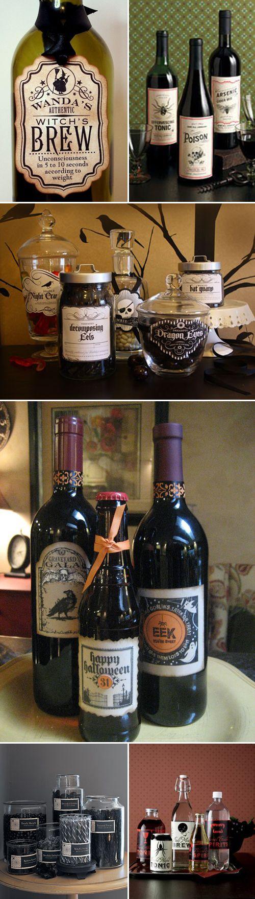 halloween labels for wine bottles
