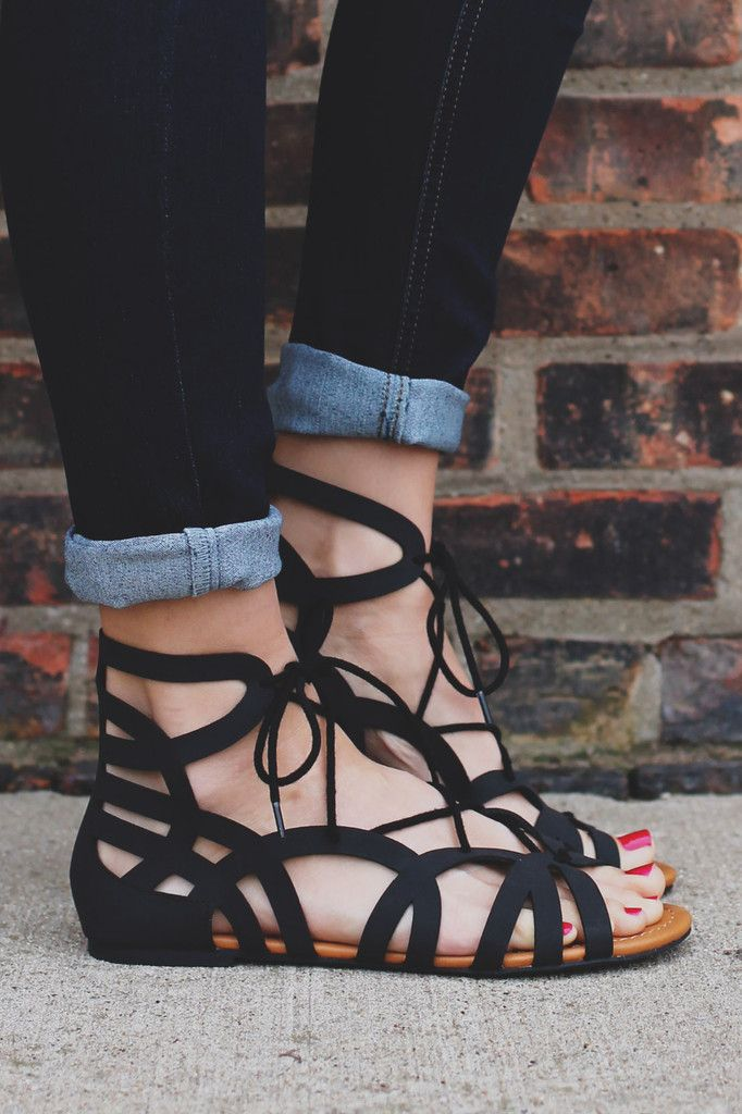 Black Gladiator Style Caged Lace Up Sandal Julian-s – UOIOnline.com: Women's Clothing Boutique