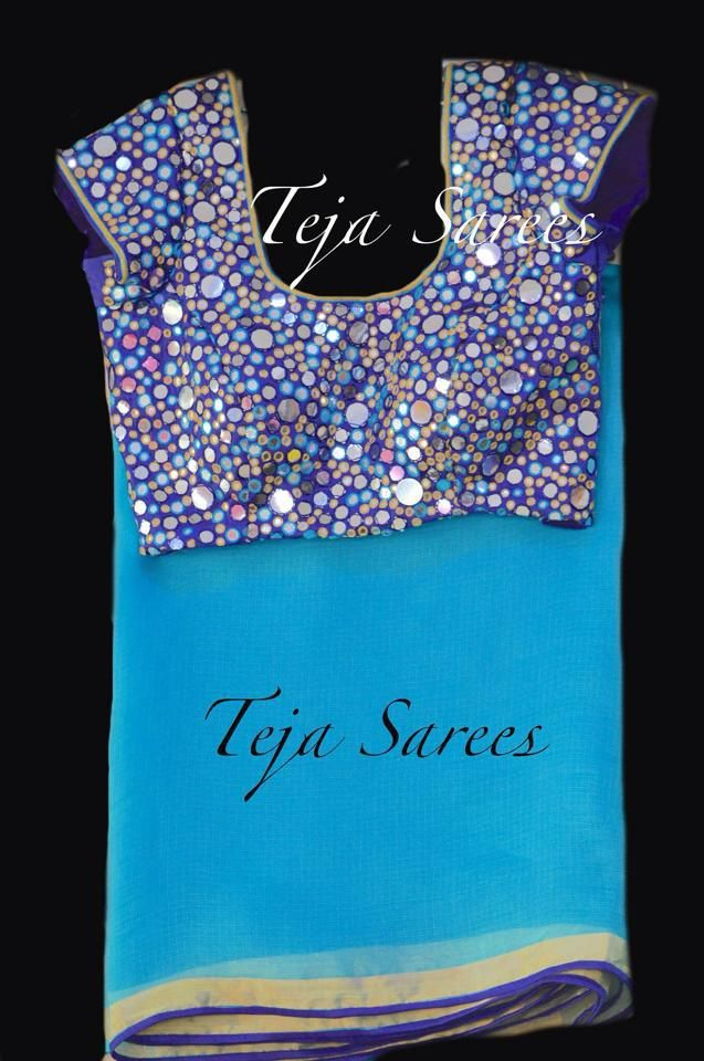 B-058 - Teja sarees Light blue light weight Saree with mirror work navy blue…