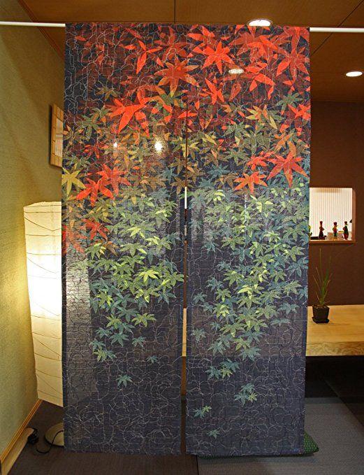 日本製 のれん 紅葉 幅85cm×丈150cm