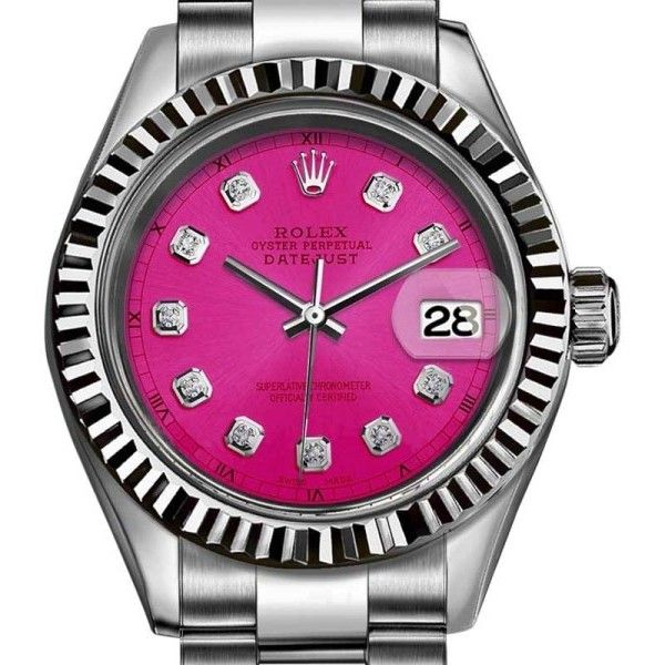Pre-owned Rolex Datejust Stainless Steel with Magenta Pink Dial 31mm... ($4,599) ❤ liked on Polyvore featuring jewelry, watches, pre owned watches, bezel watches, preowned watches, pre owned jewelry and dial watches